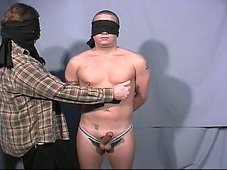 Blindfolded gay dudes go at each others big cock