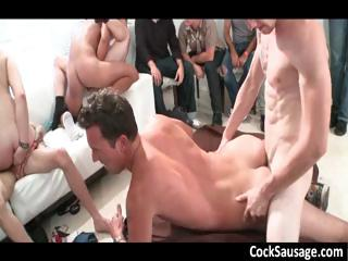 Huge gay sucking coupled with fucking gangbang part1