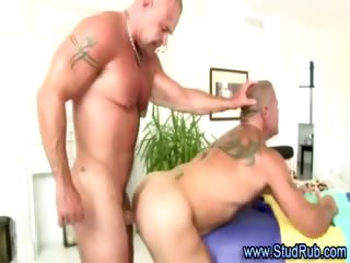 Mature jubilant masseur assfucks hunky straight dude