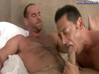 Scalding gay dude loves slurping on a chubby cock and then getting drilled in his ass