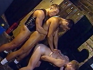 In this scorching hot decide sex, four handsome guys in leather...