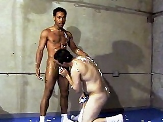 This scorching hot detached interracial carnal knowledge takes assignment in a gym, where...