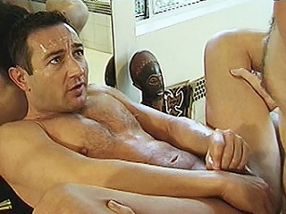 Two hard bodied detached bears Michael Vista and Lee Casey were hired to...