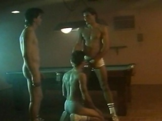 Several hot hunks had an all-male cock sucking action at the billiard...