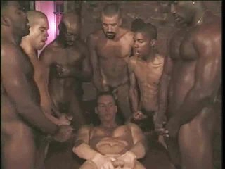 Unconcerned interracial gangbang with white boy alluring cock