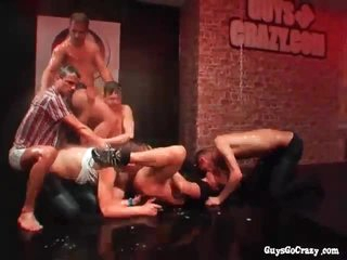 Wringing wet dudes dancing together with fucking at ribbon