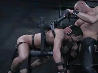 Blithe dude in bondage is face fucked