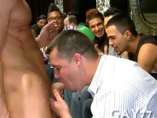 Boy sucking stripper at party