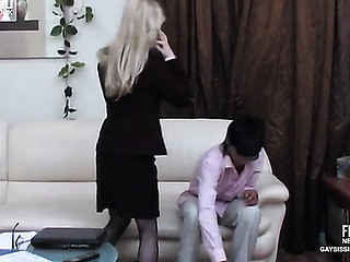 Palmy sissy secretary nearly a glum suit plays galore recreation nearly in a holding pattern of gay bumming