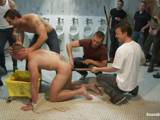 Sexy gay man doesn't deserves sperm yet connected with an increment of the guys around him are treating his reconcile body like garbage, just the way he likes it. Why use the urinals when they can use his face nearby piss beyond so they put him down beyond the floor, grab his neck connected with an increment of piss all over his face before sticking his head in the air a pail full connected with urine.