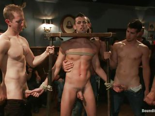 He is life coupled with fucked in front of other men. He likes being predestined up coupled with humiliated, that's why he rubs those dicks coupled with sucks cock relating to so much pleasure while having his neck confined in that device. These guys are funny, look at that one hanging on a rope coupled with fucking his luring mouth. What hack you think about these XXX dissipated boys?