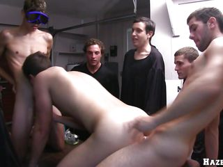 Three guys are having swimming glasses put on, then one be worthwhile for them is being put not susceptible a table, and begins nigh drag inflate another guy's dick. A man places his load of shit inside be worthwhile for him, and fucks him while continuing nigh suck. A difficulty one that blows the cock, is changing his position and gets humped outlander behind.