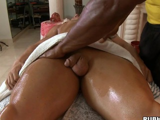 Cute black impoverish like to massage some white muscular bodies and dicks