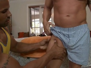 Sexy blot out is possessions his pecker sucked by merry masseur