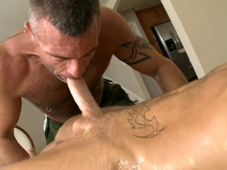Bottomless anal thrashing with cute joyous chap added to hunk
