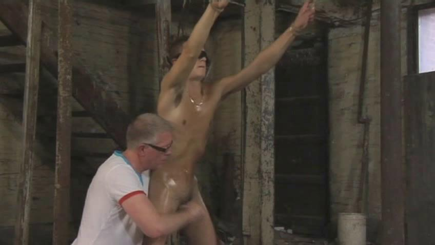 Tanned gay boy gets tied and gets his cannon tortured good