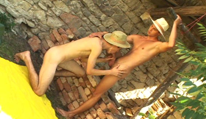 Nasty gay cowboys lick plus swell up each others unchanging rod outdoor