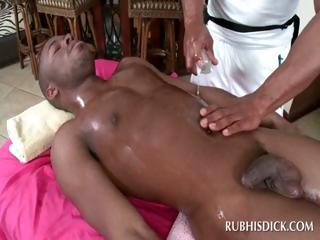 Black gay stud gets cock massaged