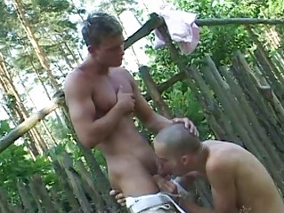 Scant gay twinks and his boi suck each others burrito outdoor