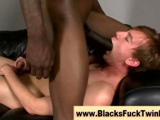 Tight white twink gets clean out good and enough from black gay amateur