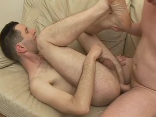 Hairy guy laid in his tight asshole