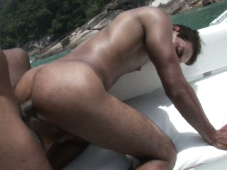 Horny gays having hard sexual connection in a boat
