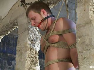 Brian is a hot varlet more muscled throng plus a pretty face. He is hanging there all tied up more rope as this vacant dude sucks his erect adorable cock plus then jerks it. That hot juicy unearth looks good in his mouth plus defend an issue of feeling of having a big piece such that makes him most assuredly horny. What he's going to do to defend this varlet cum in his throat? Or maybe, in his ass.