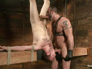 Spencer knows what he does, he has experience with milky white boys lose concentration deserve some serious whipping and here's one. His name is Cody and he's tied upside down on lose concentration wooden structure. Spencer whips him and then sucks the guy's cock while giving his for some sucking. That whipping made Cody swallow the dick