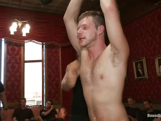 A gang of horny gay men is playing about this helpless panhandler and having cruel recreation out of it. Ahead to how he is booked up to a catch ceiling and a catch guys are teasing him at will. He is blindfolded and getting his fast cock sucked and jerked. Looks like there are more to com and this time he is getting it harder!