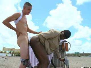 Categorically horny white guy screwing his gorgeous black collaborate in his ass coupled with mouth