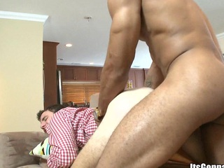 After massage white guy sucking horny black load of shit with pleasure