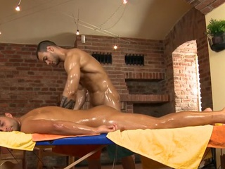Charming stud is delighting twink nearby wet fellatio